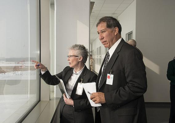 Under Secretary Avalos is shown buildings of the south campus by Dr. Elizabeth Lautner