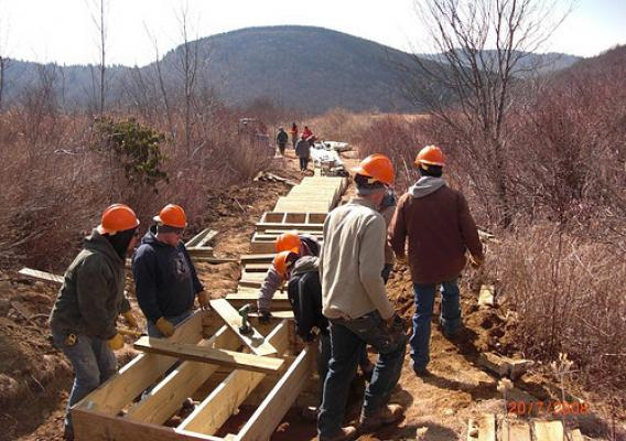 Sam Knob Trail restoration under construction