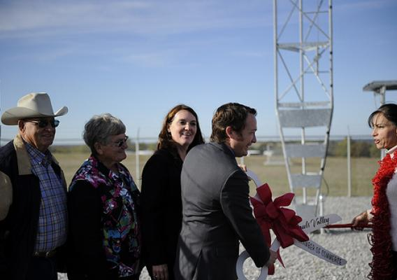 Oklahoma Rural Development State Director Ryan McMullen  joins project representatives, elected officials, and community representatives to cut a ribbon officially declaring the completion of the 1st of 30 towers, comprising the new broadband network. USDA photo.