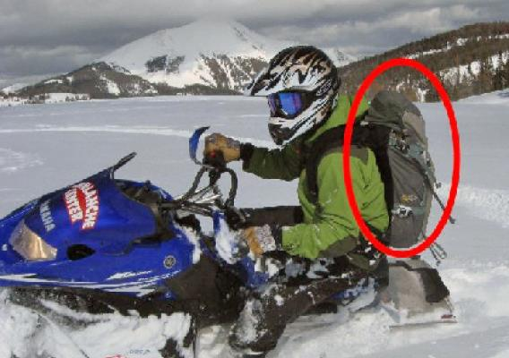 Every snowmobile rider in avalanche country needs to carry rescue gear on their back, not on the machine. They should also know how to use the gear. (U.S. Forest Service National Avalanche Center)