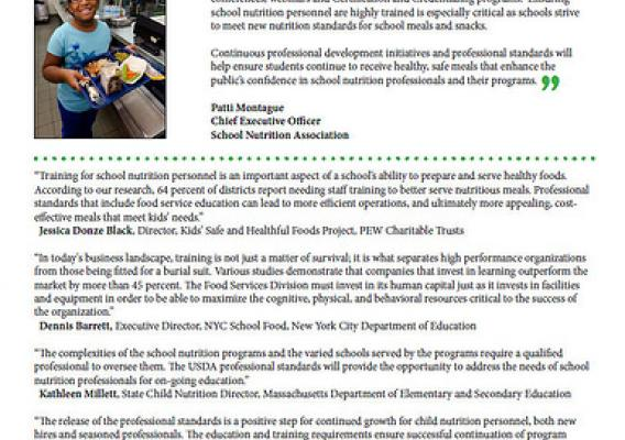 The school nutrition community has expressed their support for establishing professional standards. Click to enlarge.