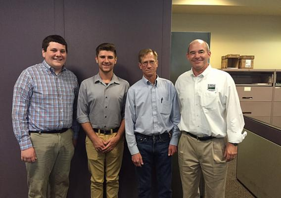 Summer student interns Joe Dionne and Elliot Alexander; Specialty Crops Inspection Division Assistant Central Region Branch Chief Phil Bricker; AMS Fruit and Vegetable Program Associate Deputy Administrator Chris Purdy