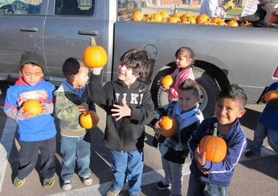 Children from Emerson Elementary School in Albuquerque, N.M., were treated to their own pumpkin, compliments of the New Mexico Farm Service Agency. More than 8,500 pumpkins were donated to schools, children's hospitals and local food banks.