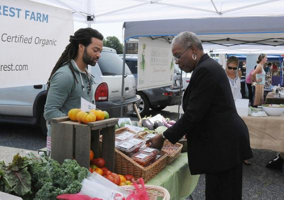 Administrator Rowe views the healthy offerings provided at a local farmers market.