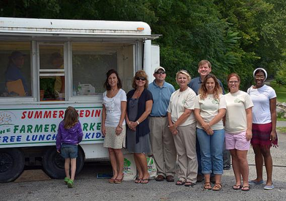 Staff of the Letcher County Farmers Market and Kentucky Department of Education proudly highlight the kitchen that serves meals to children in Whitesburg as part of the USDA Summer Food Service Program.