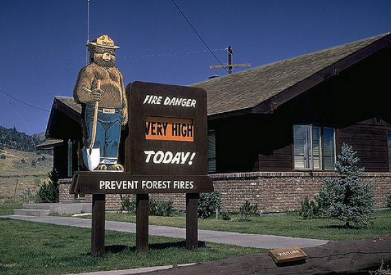 "Smokey Bear fire danger signs can be seen on many national forests and grasslands as a reminder to visitors that, ""Only YOU can prevent wildfires."" (U.S. Forest Service)"