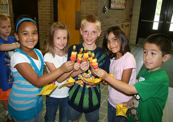 "Waterford students learned how to make ""Smart Snacks"" (fruit kabobs) and the nutrition benefits of each fruit."