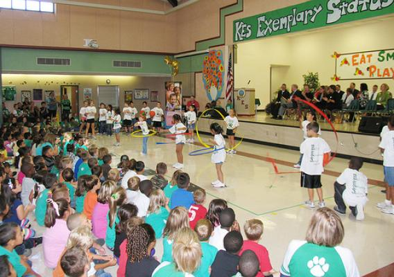 Students from Brenham and Krause elementary schools in Texas put on an exercise musical.