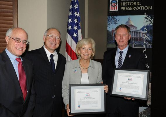 Accepting the ACHP Award for Federal Preserve America Accomplishment given for a series of youth summits in Colorado at the Advisory Council on Historic Preservation quarterly business meeting in Washington D.C. on Sept. 16, 2010 were, from left: Undersec
