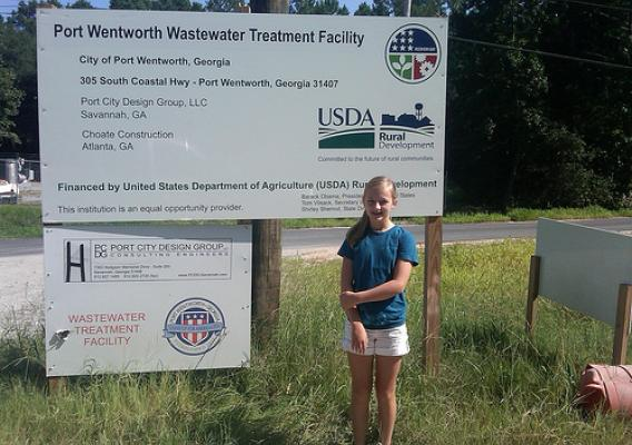 Student Reporter Sarah Burk at the Port Wentworth Treatment Plant site.