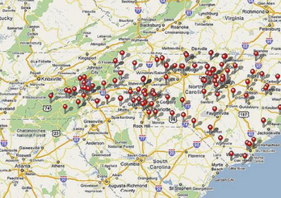The USDA National Farmers Market Directory in map mode. This screen shot shows 126 farmers markets in North Carolina