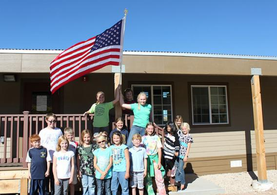 """Green Student Council"" after posting flag to the new classroom building"