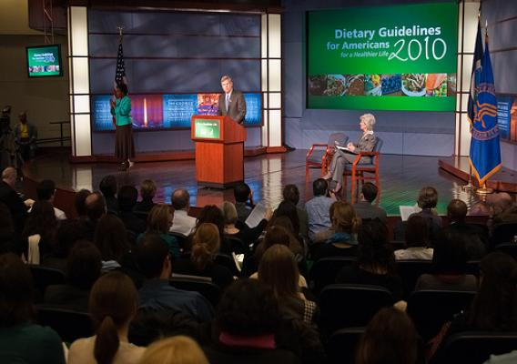 Agriculture Secretary Tom Vilsack and Health and Human Services Secretary Kathleen Sebelius (seated right) announced the release of the 2010 Dietary Guidelines for Americans in the George Washington University Jack Morton Auditorium, Monday, January 31 in Washington, DC. The Dietary Guidelines for Americans is the federal governments evidence-based nutritional guidance to promote health, reduce the risk of chronic diseases and reduce the prevalence of overweight and obesity through improved nutrition and ph