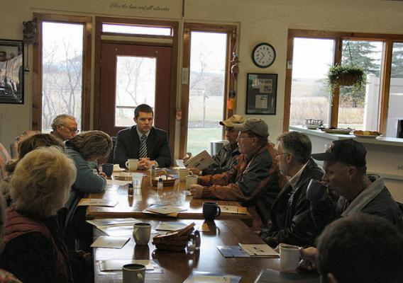 Rural Development State Director Jasper Schneider (Center) meets with community leaders during a recent outreach meeting in Regent.