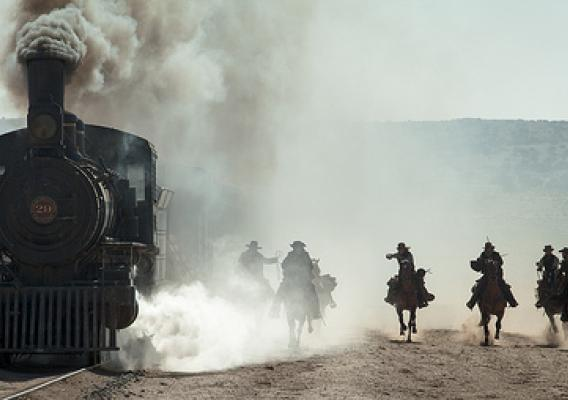 The Lone Ranger starring Johnny Depp, Armie Hammer and Helen Bonham Carter opens nationwide in theaters on July 3. The movie shot for 10 days on the Santa Fe National Forest for a fight scene on a train speeding through a tunnel. (Copyrighted photo courtesy Walt Disney Pictures)