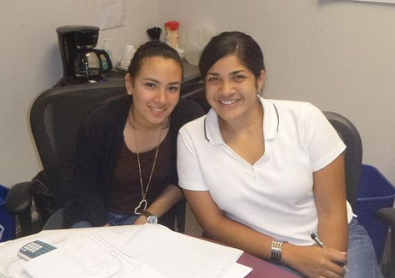 Interns Hanniah Rodriguez (left) and Angeliz Vangas. They were instrumental in developing an application for a $7 million grant to repair many of the damaged roads in the National Forests in North Carolina. (US Forest Service photo)