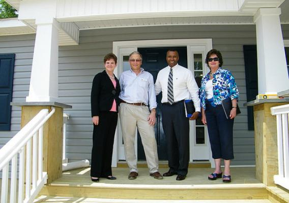 Deputy Secretary Krysta Harden, Hanover Habitat Executive Director Tim Bowring, Rural Development State Director Basil Gooden, Rural Development Housing Director for Virginia Anne Herring tour energy efficient homes constructed through a new partnership between USDA and The Hanover County Chapter of Habitat for Humanity.