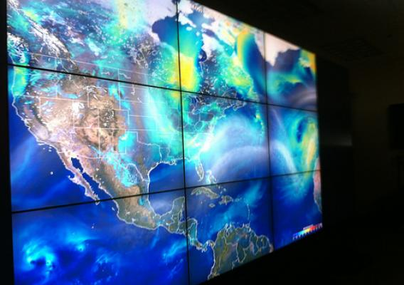 The NASA Hyperwall, a huge monitor connected to the agency's climate super computer will be used in assessing data from the GPM Core Observatory. (U.S. Forest Service/Robert Hudson Westover)