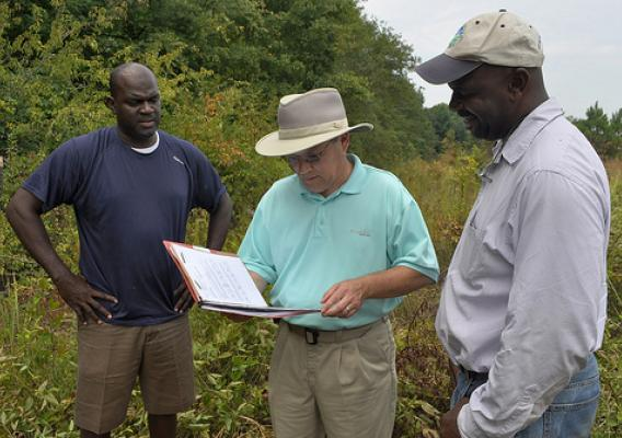 NRCS District Conservationist Frank Stephens talks with brothers Martin and Oliver Smith about their forest management plan. NRCS photo.