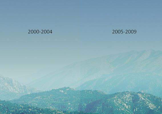 A view of the San Gorgonio Wilderness shows what the haziest days looked like in the first and second halves of the last decade. The right side of the image is about 14 percent clearer than the left. (U.S. Forest Service computer-generated graphic/Scott Copeland)