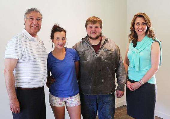Closing out National Homeownership Month on June 30, 2014, RHS Administrator Tony Hernandez inside the home with new homeowners, Jay Pauley and Johanna Mansfield, along with Congresswoman Jaime Herrera Beutler, representing Southwest Washington's 3rd Congressional District, at the Lower Columbia Community Action Program (LCCAP) Self-Help Housing Project in Castle Rock, Wash. Photo by Phil Eggman.