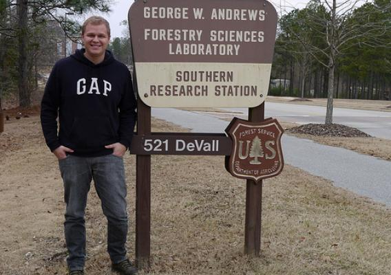 Wellington Cardoso, an undergraduate student from Brazil, is visiting the Forest Operations research unit in Auburn, AL. (Photo Credit Dana Mitchell.)