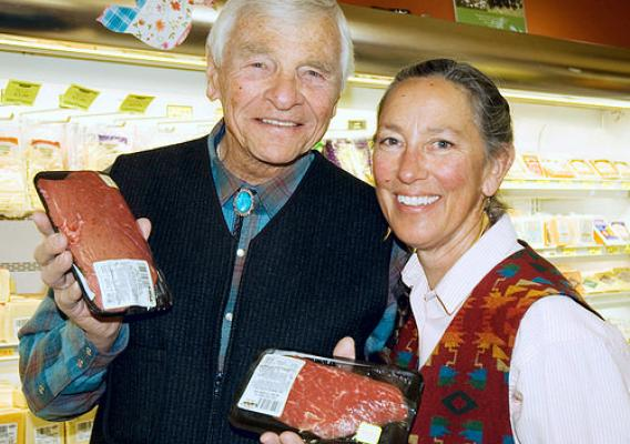 John and Trudi Kretsinger of KW Farms promoting their grass-fed beef products at one of La Montanita's stores.