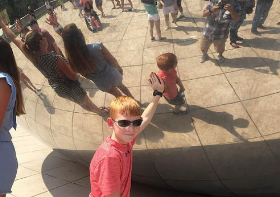 "Jack, the Fuel Up to Play 60 Program's Delaware State Ambassador, visiting Chicago's ""Bean"" sculpture"