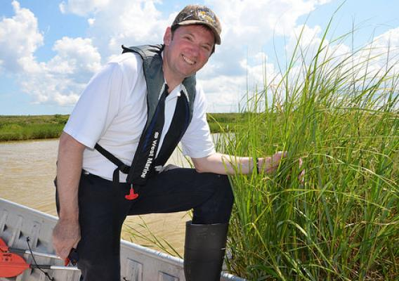 NRCS Assistant Chief, Kirk Hanlin, inspecting created marshes in the Houston Ship Channel