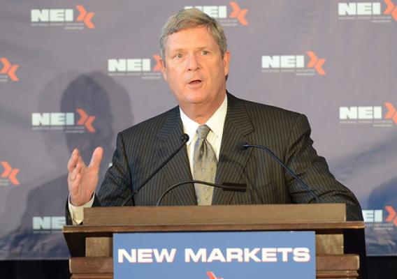"""Agriculture Secretary Tom Vilsack speaks at the National Export Initiative (NEI) ""New Markets, New Jobs"" tour in Milwaukee, Wis. on Aug. 3, 2011. The focus of the tour is to help small- and medium-sized businesses gain access to the resources they need to export their products internationally."""
