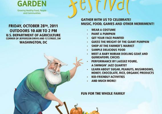 USDA's People's Garden is sponsoring a Harvest Festival on Friday, October 28 from 10 am to 2 pm at USDA Farmers Market, on the northeast lawn of Jamie L. Whitten Building and along 12th Street in-between Jefferson Drive and Independence Avenue, SW. The festival marks the culmination of a very productive growing season for the People's Garden at USDA Headquarters.