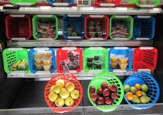 Fruits and vegetables in boxes