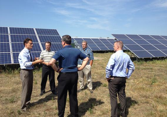 Administrator Sam Rikkers discussing the Central City Solar Garden Project