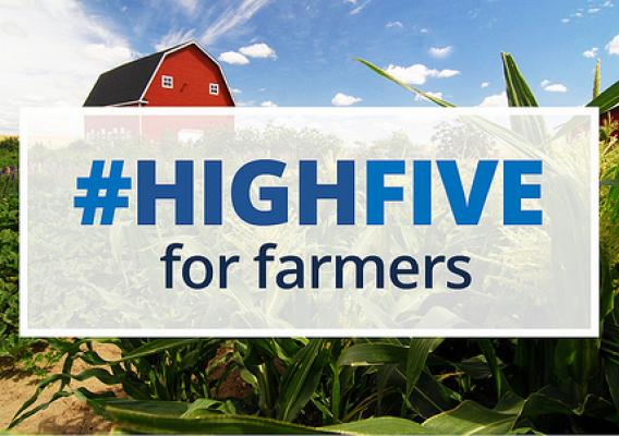 #HighFive for Farmers text box overlaid onto an image of a barn and crops