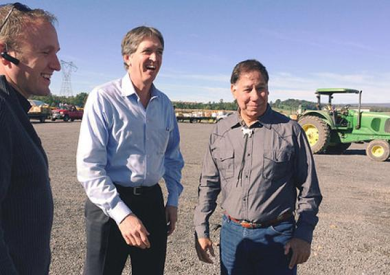 Under Secretary Ed Avalos (right) with AMS Associate Administrator Rex Barnes (middle) visiting with producers