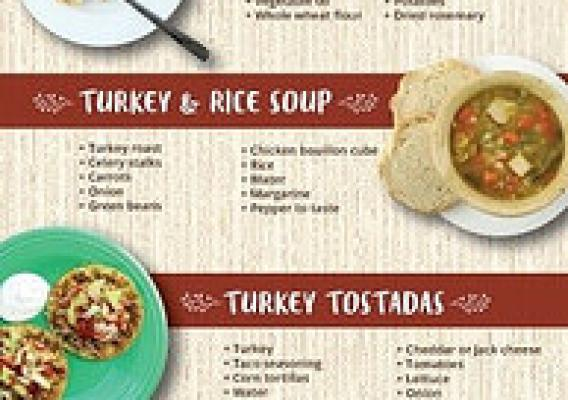 Don't trash that turkey! Discover 5 new and exciting ways to use leftovers with these delicious recipes from MyPlate. (Click to view a larger version)