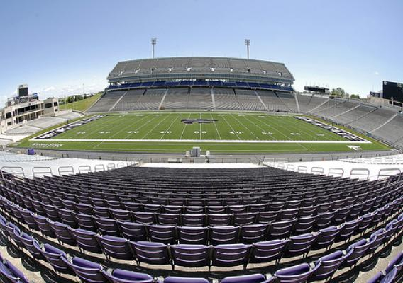 The brand of soy-based turf blanketing the Kansas State Wildcats outdoor stadium qualifies for the USDA Biopreferred program, and is an environmentally-friendly alternative to petroleum-based products. Photo courtesy Kansas State Athletics.