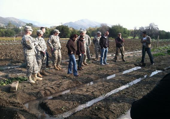 USDA agricultural advisors, members of the Wisconsin National Guard and members of the 401st Civil Affairs Battalion learn about irrigation techniques used in Afghanistan while participating in Agricultural Development for Afghanistan Pre-deployment Training (ADAPT) in San Luis Obispo, Calif. from Dec. 12-16.  The week-long course taught the students about farming practices currently used in Afghanistan and ways to help improve efficiency and increase production. Photo by Ryan Brewster, USDA's Foreign Agric