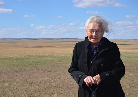 Ninety-four year old former Cheyenne River Sioux Tribal Council Member Marcella Le Beau celebrates the final stages of a major project underway to bring abundant and safe water to the Cheyenne River Reservation.
