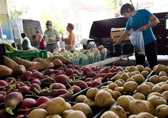 Bartenfelder Farms at Baltimore's Farmers Market and Bazaar in Baltimore, MD. Vendors now accept Baltimore Farmers Market and Bazaar tokens, thanks to the new wireless connected electronic card reader that accepts the U.S. Department of Agriculture's (USDA) Food Nutrition Service's (FNS) Supplemental Nutrition Assistance Program (SNAP) Electronic Benefits Transfer (EBT) cards, Baltimore Bucks, and debit cards. USDA Photo by Lance Cheung.