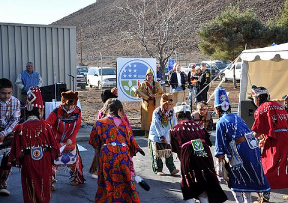 Members of the Confederated Tribe of Warm Springs celebrate the start of a USDA funded project that will provide residents of the Reservation with Phone and Internet service.