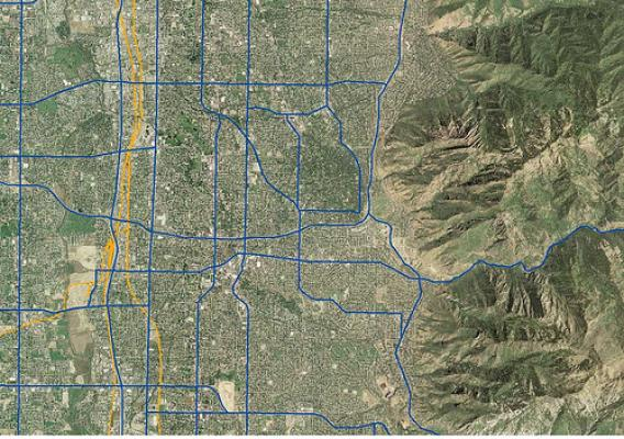 Roads and Rails dataset layer place on top of NAIP 2006 imagery dataset located in Salt Lake County, UT.  (Photo courtesty of NAIP)