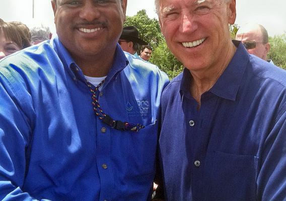 Vice President Joe Biden visits with Carlos Suarez of NRCS during a tour of wetland projects in the Everglades.