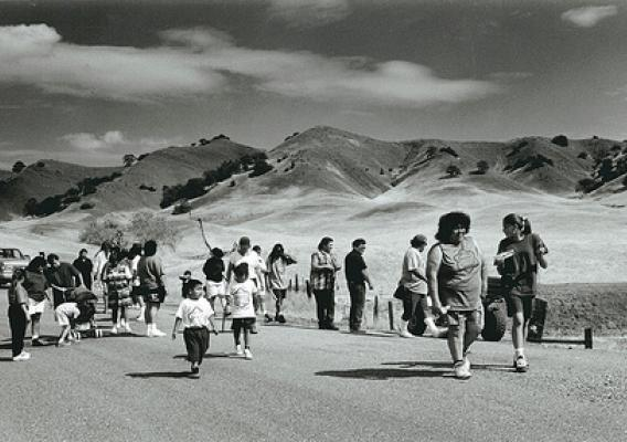 Members of the Round Valley Indian Tribe retrace the 1863 route of the Nome Cult walk, a forced relocation of Indians from Chico, Calif., to Covelo, Calif. (U.S. Forest Service)