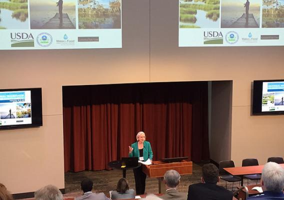Deputy Under Secretary for Natural Resources and the Environment Ann Mills addresses the audience at the first ever EPA-USDA National Workshop on Water Quality Markets