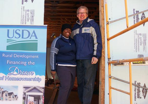USDA Rural Development Pennsylvania State Director Thomas Williams helped future homeowner Judy Aguero put the first nails into the doorway of her new home.