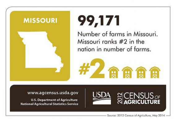 Show me farms!! Missouri has lots and lots of farming – almost 100,000 according to the 2012 Census of Agriculture. Check back next week for a focus on another state and the Census of Agriculture.