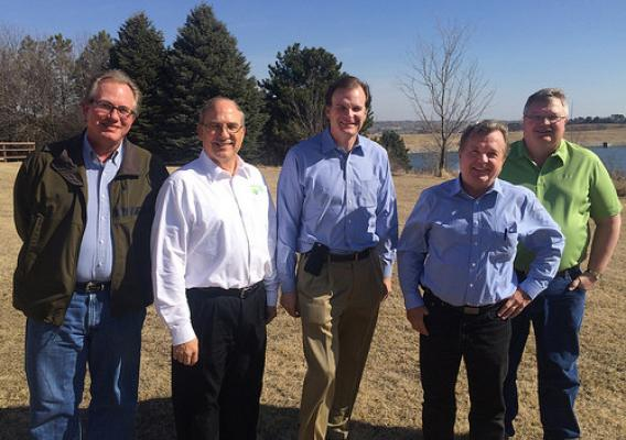 Flood control and prevention tour participants (L-R) NRCS State Engineer Tim Haakenstad, NRD Assistant General Manager Marlin Petermann, Under Secretary Robert Bonnie, State Conservationist Craig Derickson and NRCS District Conservationist Neil Jensen. NRCS photo.