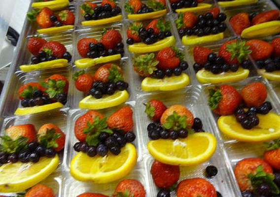 Fruits in plastic trays