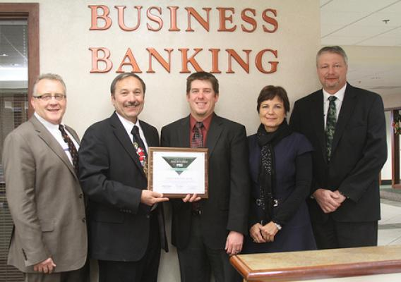 Lender Award: (Left to right) Daryl Krejci, Business Banking Manager, Vice President, Great Western Bank in Rapid City; Rural Development Area Director Tim Potts; Michael Hildebrandt, Business Banking Vice President at Great Western Bank in Rapid City; Rural Development State Director Elsie Meeks and Marvin Larabee, Group President, Great Western Bank.